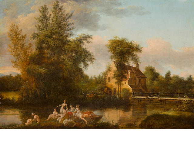 French School, early 19th century A group of women bathing in a river 17 1/4 x 26 1/2in (44 x 67.4cm)
