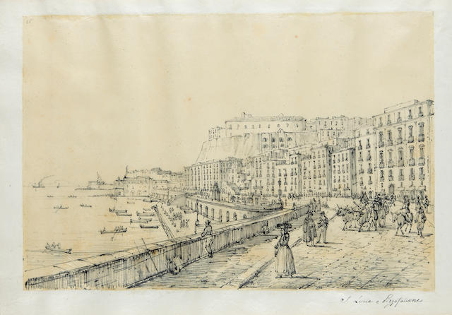 Antonio Senape (Italian, 1788-1850) Views of Naples and Sicily, including panoramas of Chiaia, Posillipo, Pozzuolo, Miseno, Messina, Palermo, and views of Capodimonte, Capri, Taormina, Calabria and others (album of 65) the smallest: 8 3/4 x 6 1/2in (21.3 x 16.5cm); the largest: 8 3/4 x 13in (21.3 x 33cm)