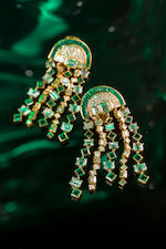 A pair of emerald and diamond pendant earclips, Bulgari