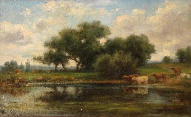 Hiram Reynolds Bloomer (American, 1845-1911) Cows watering at a pond 12 1/4 x 20 1/4in