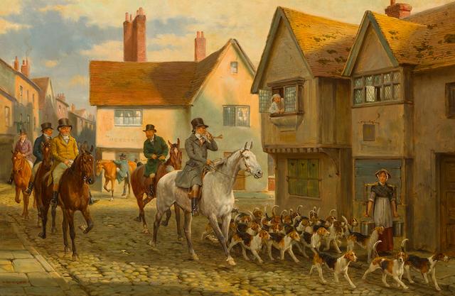 George Goodwin Kilburne, RI, RBA (British, 1839-1924) The saga of John Peel: Yes, I ken John Peel; And I've followed John Peel; Twas the sound of his horn; Then here's to John Peel (a set of four) each 15 3/4 x 24in (40 x 61cm)