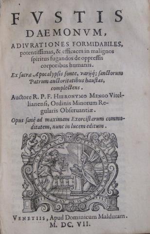 MENGHI, GIROLAMO. Fl.1580. Fustis daemonum adiurationes formidabiles. BOUND AFTER: Flagellum daemonum exorcismos terribiles.... Venice: Malduram, 1607-1608.