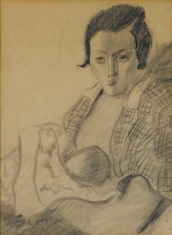Milton Avery (American, 1893-1965) Mother and Child sight 7 1/2 x 5 3/4in