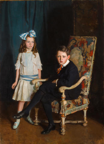 Harrington Mann (British, 1864-1937) A portrait of Jean McKelvie Sclater-Booth and her brother 75 x 54in (190.5 x 137cm)