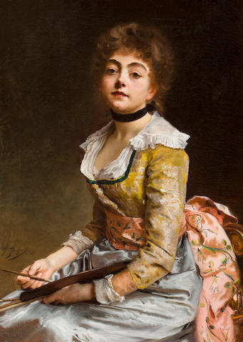 Gustave Jean Jacquet (French, 1846-1909) The young painter 36 x 25 3/4in (91.5 x 65.5cm)