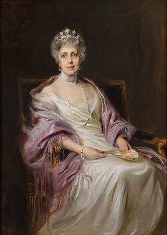 Philip de László (Hungarian, 1869-1937) Portrait of Mrs. Robert Livingston Fryer, neé Miss Melissa Dodge Pratt 56 x 40 1/4in (142.5 x 102.3cm)