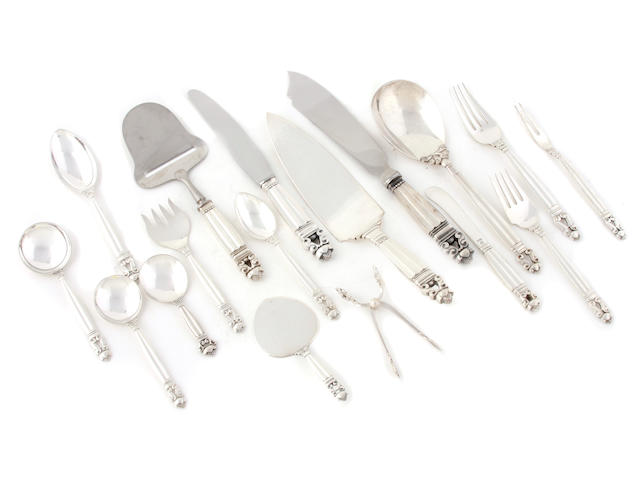 A Danish sterling silver flatware service for ten Georg Jensen Silversmithy, Copenhagen most pieces post-1945, some pieces circa 1930s