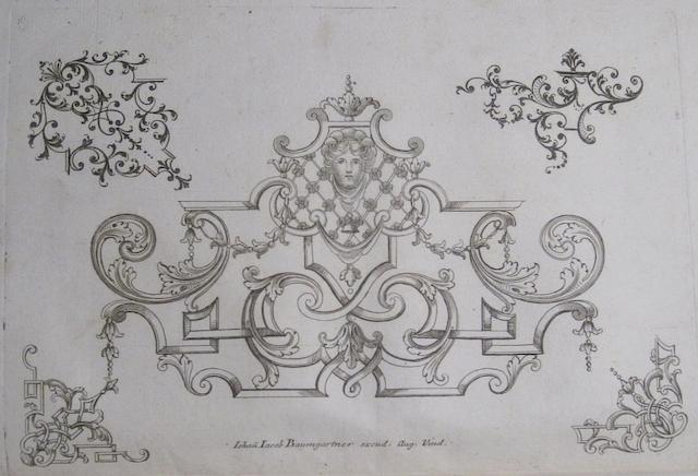 GUTWEIN, NICOLAUS ANTONI. Unterschiedliche Zierrater von Laub- und Bäntlwerckh. [Augsburg?]: Johann Jacob Baumgartner, [c.1750].