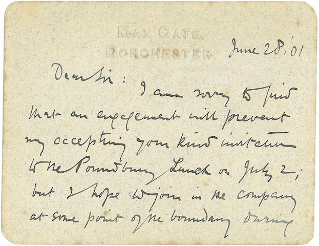 HARDY, THOMAS. 1840-1928. Two Autograph Letters Signed, Max Gate, Dorchester, both on personal stationery, to the MAYOR OF DORCHESTER:<BR />