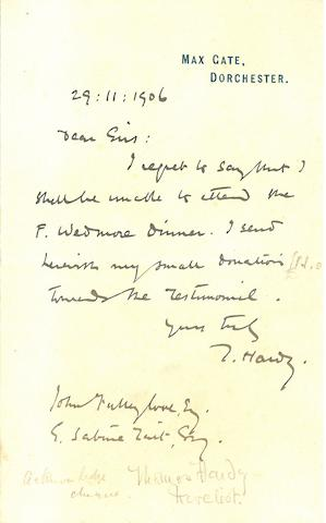 "HARDY, THOMAS. 1840-1928. Autograph Letter Signed (""T. Hardy,""),"