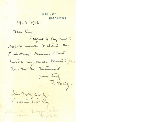 """HARDY, THOMAS. 1840-1928. Autograph Letter Signed (""""T. Hardy,""""),"""