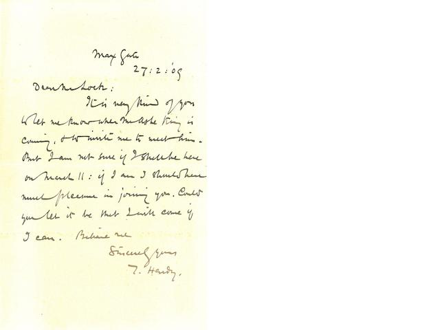"HARDY, THOMAS. 1840-1928. Autograph Letter Signed (""T. Hardy.""),"