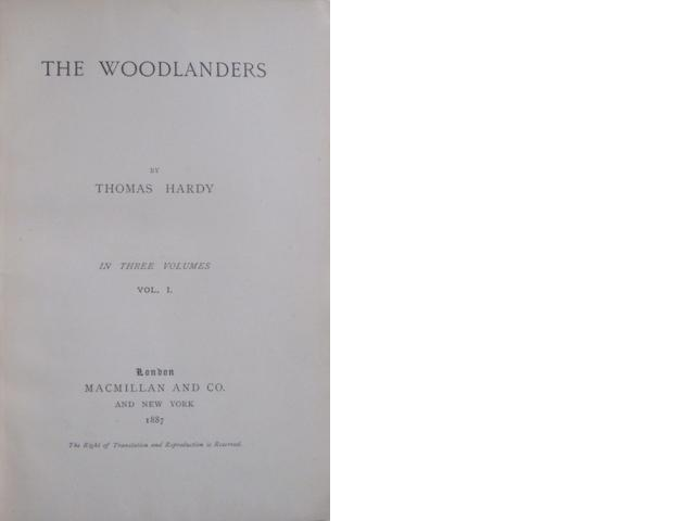 HARDY, THOMAS. The Woodlanders. London: Macmillan, 1887.<BR />
