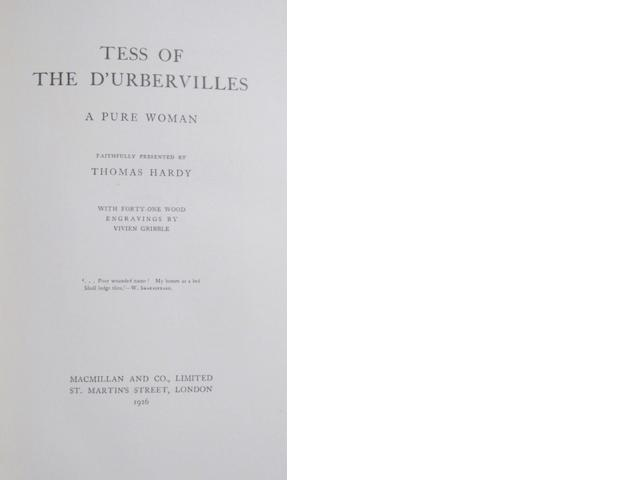HARDY, THOMAS. 1840-1928. Tess of the d'Urbervilles. A Pure Woman. London: Macmillan, 1926.<BR />