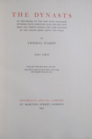 HARDY, THOMAS. 1840-1928. The Dynasts. London: Macmillan, 1927.<BR />