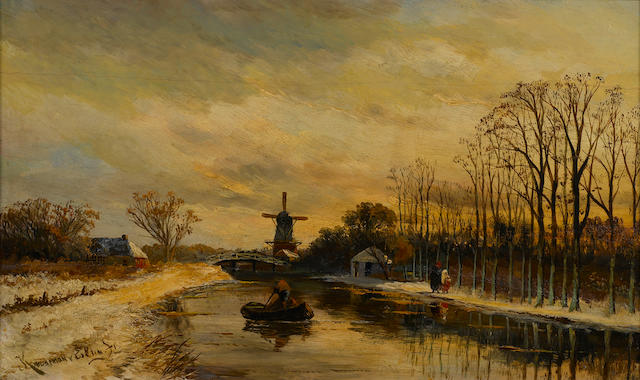 Hendrik Dirk Kruseman van Elten (Dutch, 1829-1904) A winter landscape with a boat on a river and a windmill in the distance 11 x 18 1/2in