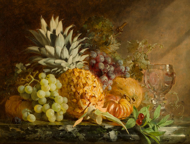 Attributed to Annie Feray Mutrie (1826-1893) A still life with pineapple, grapes and a crystal goblet 16 1/2 x 21 1/4in