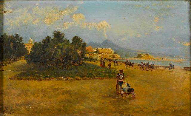 Neapolitan School, 19th Century A view of Vesuvius 8 1/2 x 14in