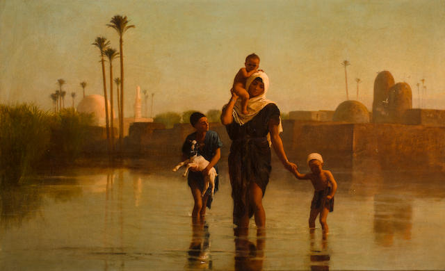 Frederick Goodall, RA (British, 1822-1904) The way from the village - time of inundation 35 1/4 x 57in (89.8 x 145cm)