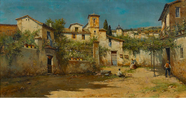 Aiva, or Alva A village street scene 15 3/4 x 29 3/4in
