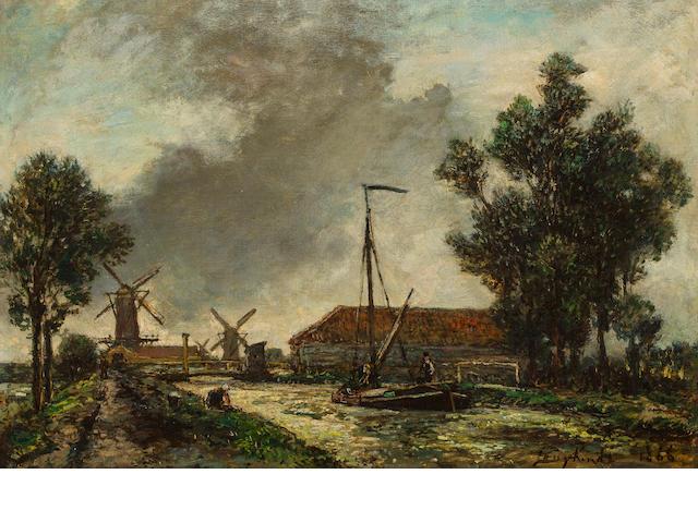 Johan Barthold Jongkind (Dutch, 1819-1891) La passerelle, Hollande 13 x 18 1/2in (34.9 x 46.9cm)