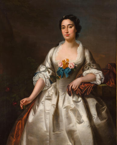 Circle of Andrea Soldi (Florence circa 1703-1771 London) A portrait of a lady in a white dress, thought to be Mrs. William Wright 50 x 40 1/4in (127 x 102.4cm)