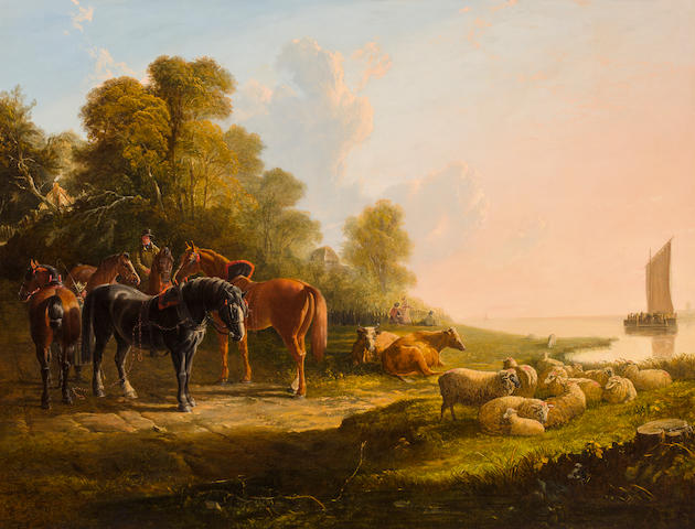 John Frederick Herring, Snr. (British, 1795-1865) Awaiting the return of the ferry boat 40 x 52in (101.6 x 132.1cm)