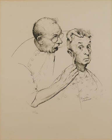 Norman Rockwell, At the Barber, lithograph, framed