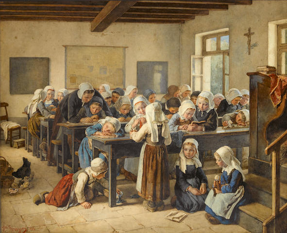 Jean-Baptiste Jules Trayer (French, 1824-1909) A Breton infants school 26 3/4 x 33in (68 x 83.8cm)