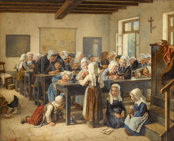 Jean-Baptiste Jules Trayer (French, 1824-1909) A Breton infants school 26 3/4 x 33in (68 x 83.8cm)