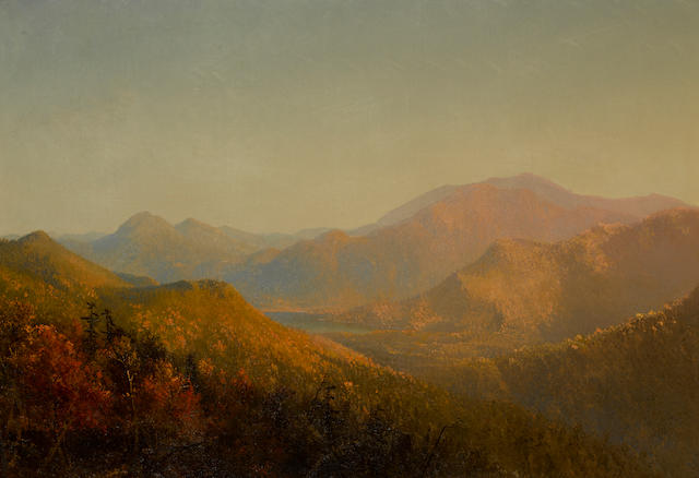 Circle of Sanford Robinson Gifford (American, 1823-1880) Mountains and lake in autumn 25 x 36in