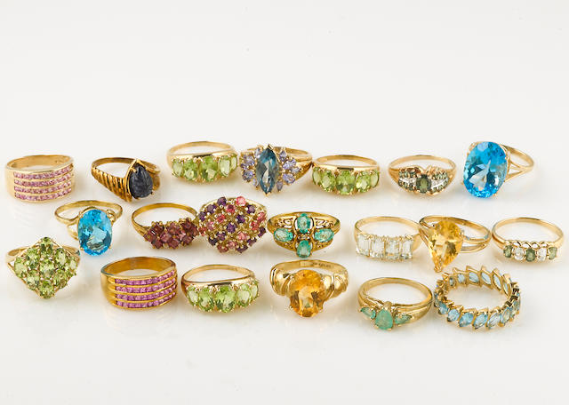 A collection of seventy-five gem-set, 14k and 10k gold rings