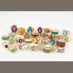 A collection of seventy-five gem-set and 10k yellow and rose gold rings