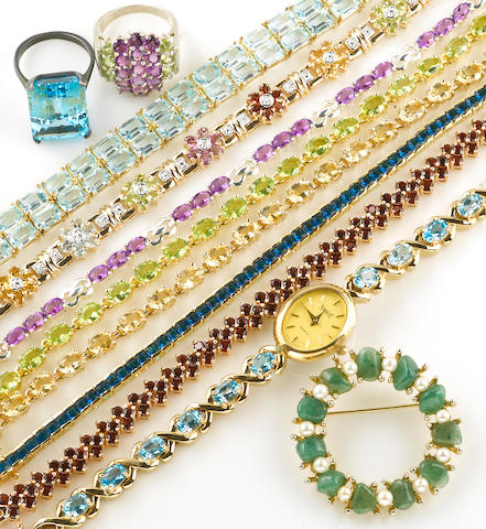 A collection of gem-set, simulated gem, silver and vermeil jewelry together with a collection of costume jewelry