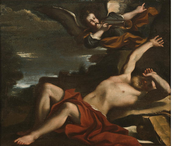 Follower of Giovanni Francesco Barbieri, called il Guercino (Cento 1591-1666 Bologna) The vision of Saint Jerome 16 x 19 1/4in
