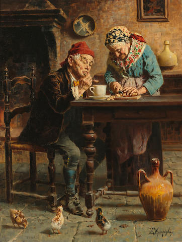 Eugenio Zampighi (Italian, 1859-1944) A tasty meal 24 x 18 1/2in (61 x 47cm)
