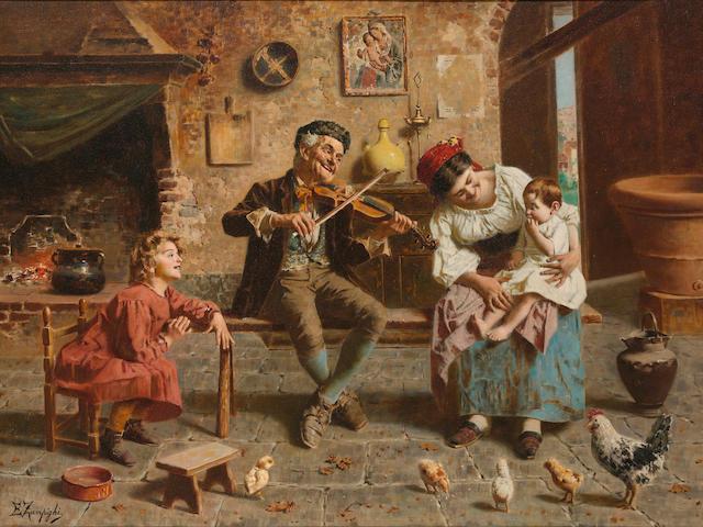 Eugenio Zampighi (Italian, 1859-1944) Musica in famiglia 27 x 36in (68.6 x 91.4cm)