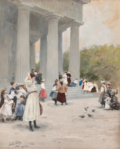 Johann Nepomuk Geller (Austrian, 1860-1954) School children outside a building 9 1/2 x 7 7/8in (24.2 x 20cm) unframed