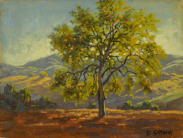 Paul A. Grimm (American, 1891-1974) Landscape with Trees, Rolling Hills, Rolling Hills II, Trees on a Hillside (4) first 5 7/8 x 8in; second 6 1/8 x 8 1/8in; third 5 3/4 x 8in; fourth 9 x 12in each unframed