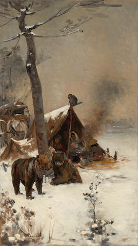 Edouard Castres (Swiss, 1838-1902) A study of a circus family camping in the snow 24 1/4 x 13 3/4in (61.6 x 34.9cm) unframed