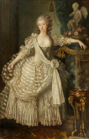 Louis Lié Périn-Salbreux (Reims 1753-1817) A portrait of a lady in white, full-length, holding a crown of roses in her right hand, her left arm resting on an altar to love 84 x 54 3/4in (213.4 x 139cm)