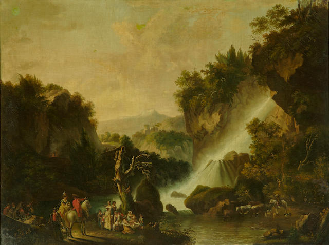 Flemish School, late 18th/early 19th Century An extensive landscape with a waterfall and figures in the foreground 40 x 53in (101.6 x 134.7cm)
