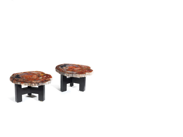 A pair of fossilized wood topped sidetables with black painted steel bases Ado Chale, Belgium c 1960