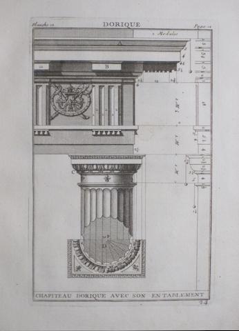VIGNOLA (GIACOMO BAROZZI). 1507-1573 Regles des cinq ordres d'architecture. Paris: Huquier, 1762.