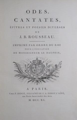 ROUSSEAU, JEAN BAPTISTE. 1670-1741. Odes, cantates, épîtres et poésies diverses. Paris: P. Didot, 1790.