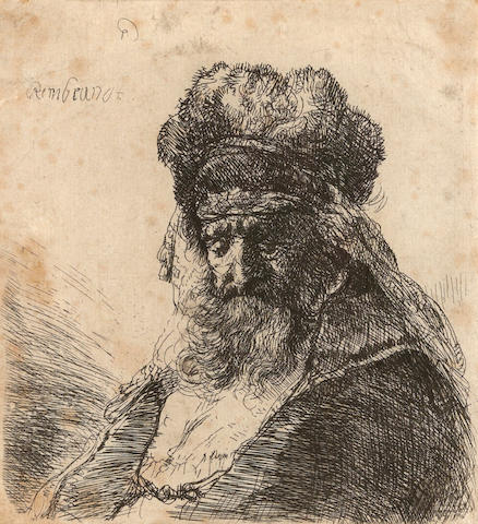 Rembrandt Harmensz van Rijn (1606-1669); An Old Bearded Man in a High Fur Cap, with Eyes Closed;