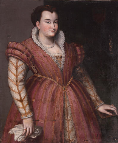 Follower of Lavinia Fontana (Bologna 1552-1614 Rome) A portrait of a noblewoman, three-quarter length wearing a gold and red brocade dress 39 3/4 x 34in (101 x 86.3cm)