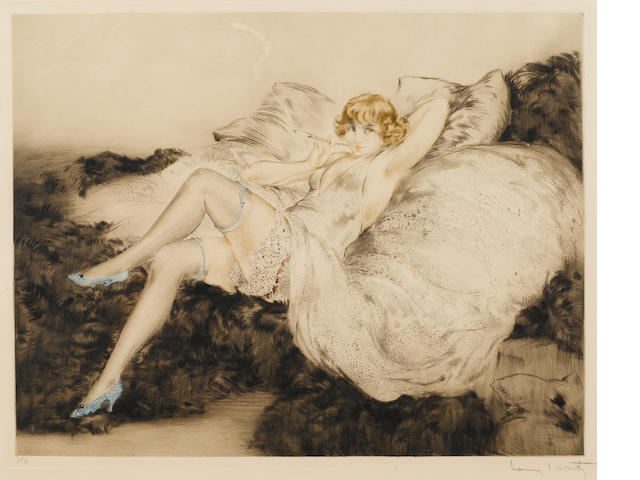 "Louis Icart, Sur le Divan, 1925, color etching, 15 x 19"", signed lower right"