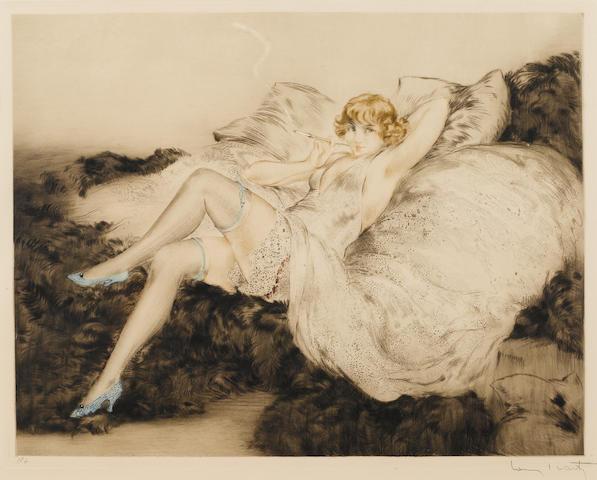 """Louis Icart, Sur le Divan, 1925, color etching, 15 x 19"""", signed lower right"""