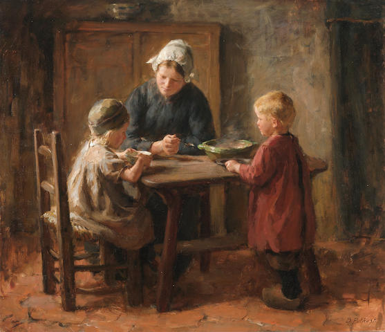 Bernard Pothast (Dutch, 1882-1966) The evening meal 26 x 29 3/4in (66 x 75.6cm)